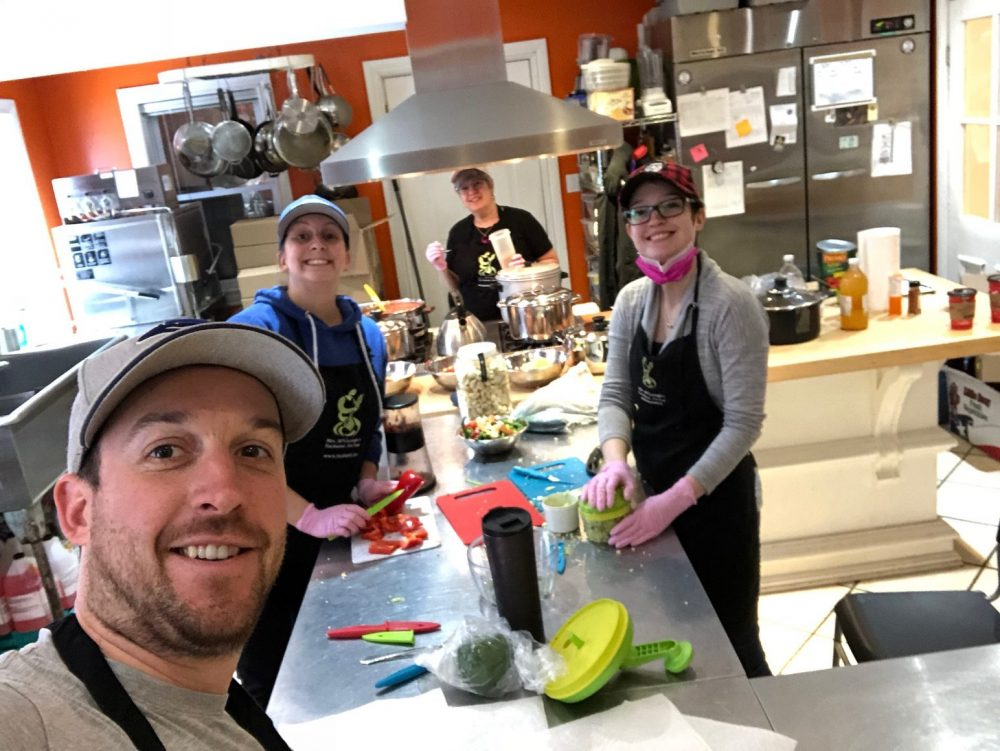 IMAGE: Dave, Chelsea, Mom and Jessica in the kitchen at Mrs. McGarrigles whipping up the first batch of Mom's Homemade Salsa. From our family to yours...